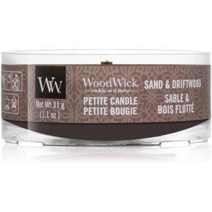 Woodwick Sand & Driftwood votívna sviečka s dreveným knotom 31 g