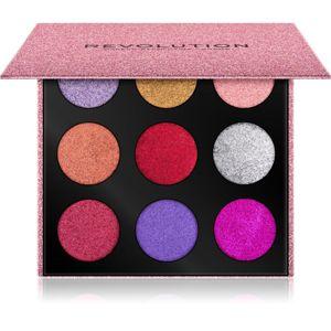 Makeup Revolution Pressed Glitter Palette paletka lisovaných trblietok odtieň Diva 10,8 g