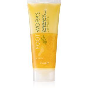 Avon Foot Works Pineapple and Tea Tree zmäkčujúca starostlivosť na popraskanú pokožku chodidiel s vitamínom E 75 ml