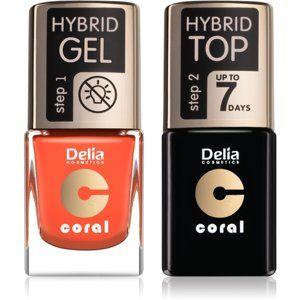 Delia Cosmetics Coral Nail Enamel Hybrid Gel kozmetická sada odstín 02