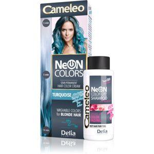 Delia Cosmetics Cameleo Neon Colors vymývajúca sa farba pre blond vlasy odtieň Turquoise