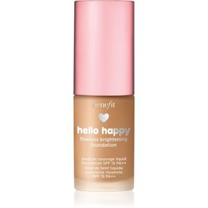 Benefit Hello Happy Flawless Brightening Foundation Mini rozjasňujúci tekutý make-up SPF 15 odtieň 06 Medium Warm 10 ml