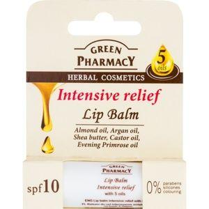 Green Pharmacy Lip Care intenzívny hydratačný balzam na pery SPF 10 bez silikónov, parabénov a farbív 3,6 g