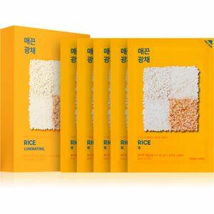Holika Holika Pure Essence Rice plátenná maska pre rozjasnenie a vitalitu pleti 5x20 ml