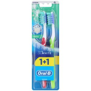 Oral B 3D White Fresh zubné kefky medium 2 ks Dark Pink & Green 2 ks